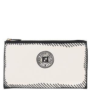 Fendi White Stamp Fabric Medium Pouch