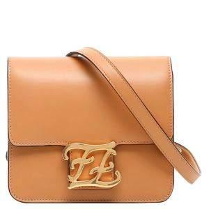Fendi Brown Leather FF Kaligraphy Bag