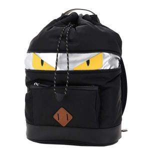 Fendi Black Canvas And Leather Monster Backpack