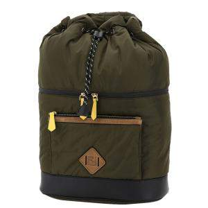 Fendi Green Nylon Drawstring Backpack Bag