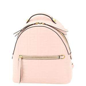Fendi Nude/Rose Nappa Leather Ff Mini Backpack