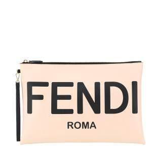 Fendi Cream Leather Roma Clutch