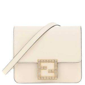 Fendi White Leather Fab Crystal Crossbody Bag
