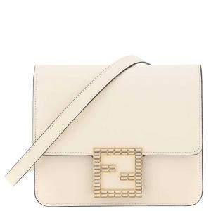 Fendi White Leather Fab Crystal Crossbody Bag