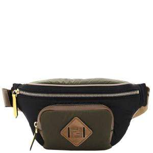 Fendi Navy Green/Black Nylon Dolmias Belt Bag