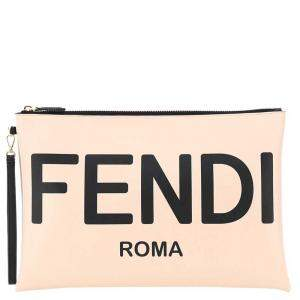 Fendi Rose Leather Large Flat Pouch