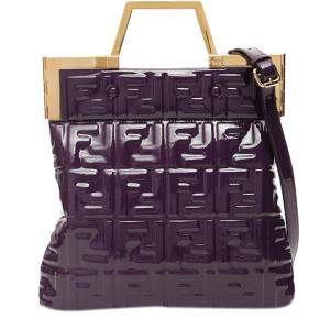 Fendi Purple FF Monogram Logo Shopper Tote Bag