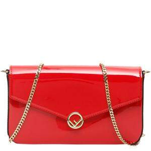 Fendi Red Patent Leather Logo Buckle Mini Wallet on Chain Bag