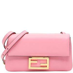 Fendi Pink Leather Duo Baguette Bag