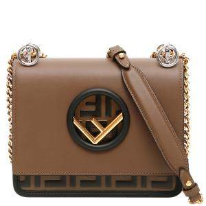 Fendi Brown Leather Kan I F Crossbody Bag