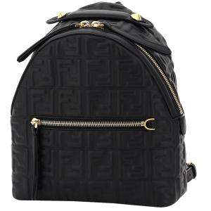 Fendi Black Leather Embossed FF Mini Backpack