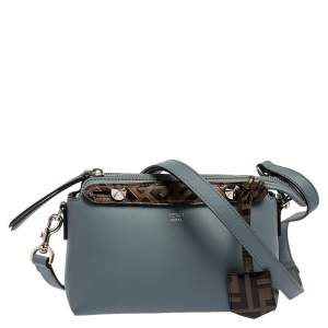 Fendi Blue/Brown Leather Mini By The Way Boston Bag