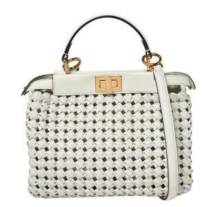 Fendi White Woven Leather Mini Peekaboo Top Handle Bag