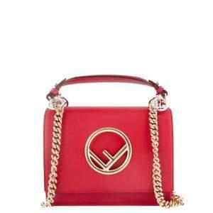Fendi Red Leather Kan I Top Handle Bag