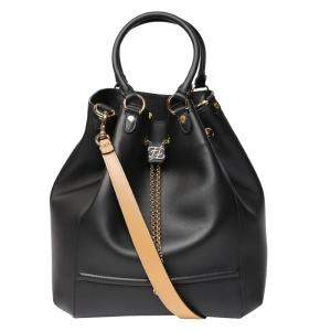 Fendi Black Leather Karligraphy drawstring Bucket Bag