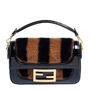 Fendi Black/Brown Fur and Patent Leather Mini Pequin Baguette Bag