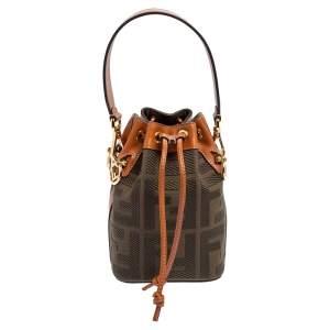 Fendi Green/Brown Zucca Canvas and Leather Mini Mon Tresor Drawstring Bucket Bag