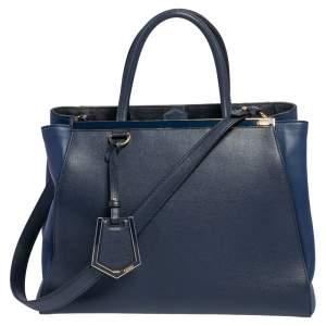 Fendi Two Tone Blue Leather Medium 2Jours Tote
