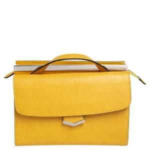 Fendi Yellow Textured Leather Mini Demi Jour Top Handle Bag