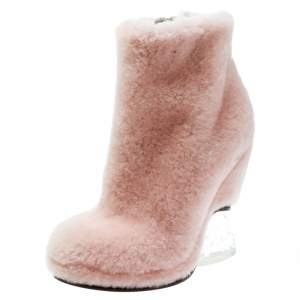 Fendi Light Pink Shearling Fur Ice Heel Ankle Boots Size 39