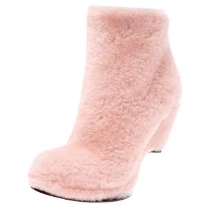Fendi Light Pink Shearling Fur Ice Heel Ankle Boots Size 38