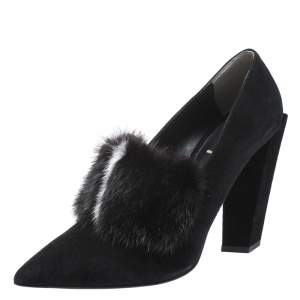 Fendi Black Suede And Mink Fur Alexane Block Heel Pumps Size 39
