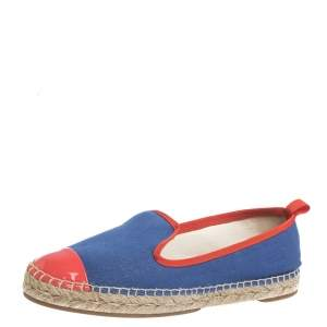 Fendi Blue Canvas And Pink Patent Leather Espadrille Cap Toe Flats Size 37.5