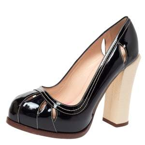 Fendi Black Patent Leather Cut Out Platform Pumps Size 38.5