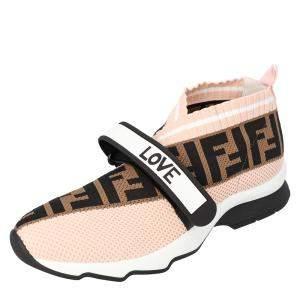 Fendi Pink Rockoko Knit Sneakers Size 37