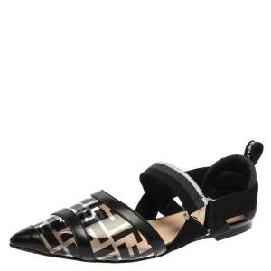 Fendi Black PVC And Leather Trim Colibrì Pointed Toe Flats Sandals Size 38.5