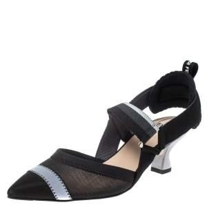 Fendi Multicolor Mesh And Fabric Colibri Slingback Pointed Toe Sandals Size 39