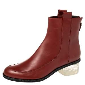 Fendi Burnt Red Leather Ankle Boots Size 40