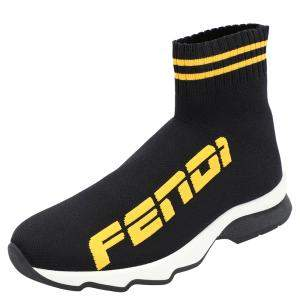 Fendi Black Cotton Knit And Leather Fendi x Fila Mania Logo Sock Sneakers Size EU 38.5