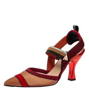 Fendi Multicolor Mesh And Fabric Colibri Slingback Sandals Size 40