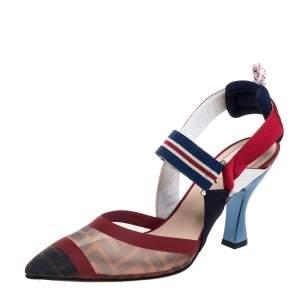 Fendi Multicolor FF Print Mesh And Nylon Colibri Slingback Sandals Size 40