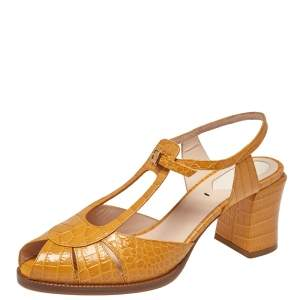 Fendi Yellow Croc Embossed Leather Chameleon Block Heel Sandals Size 38