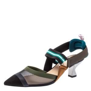 Fendi Multicolor Mesh And Leather Colibri Slingback Sandals Size 37