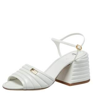 Fendi White Leather Logo Embellished Sandals Size 38