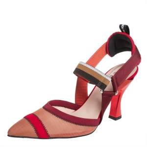 Fendi Red Mesh And Fabric Colibri Slingback Sandals Size 40