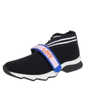 حذاء رياضي فندي قماش تريكو أسود روكوكو بعنق منخفض مقاس 37