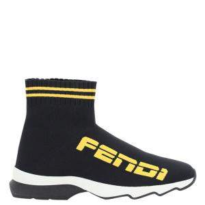 Fendi Black/Yellow knit Canvas Logo Sock Sneakers Size IT 36