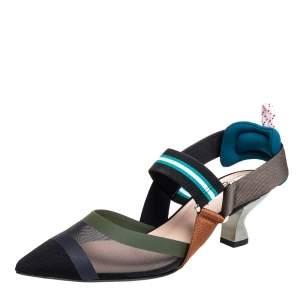 Fendi Multicolor Mesh And Nylon Colibri Pointed Toe Slingback Sandals Size 36