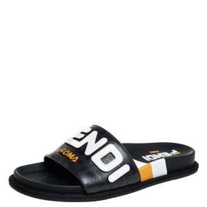 Fendi Black Leather Mania Motif Slide Size 39