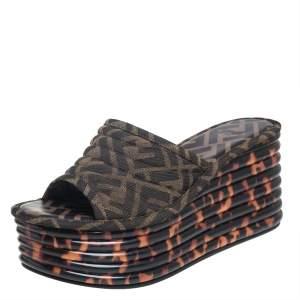 Fendi Brown/Black Zucca Canvas Promenade Wedge Platform Slide Sandals Size 36.5