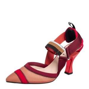 حذاء كعب عالي فندي كوليبري شبك وقماش متعدد الألوان بحزام للكاحل مقاس 36