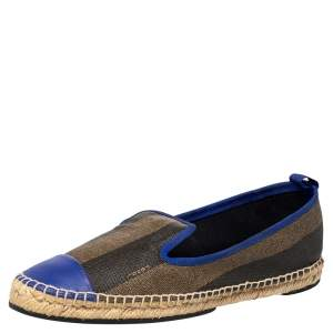 Fendi Brown/Blue Coated Canvas And Leather Espadrille Flats Size 40.5