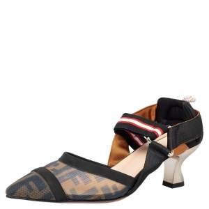 Fendi Brown/Black Zucca Mesh And Leather Colibri Slingback Sandals Size 38