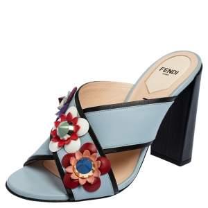 Fendi Blue Leather Flowerland Mule Sandals Size 39