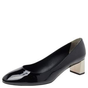 Fendi Black Patent Leather Block Heel Pumps Size 40