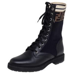 Fendi Black Leather And FF Motif Detail Stretch Fabric Rockoko Combat Boots Size 38